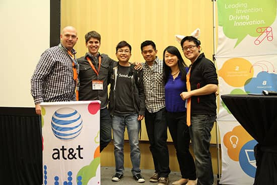 AirPing secures first place at the AT&T and American Airlines Travel Hackathon during SXSW. (photo courtesy of AT&T)