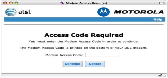 Modem Access Code screen