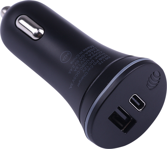 AT&T 30W Bullet Car Charger Dual USB-A and Type C - Black