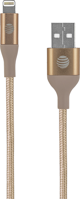 AT&T Braided 6 FT Lightning Cable - Gold