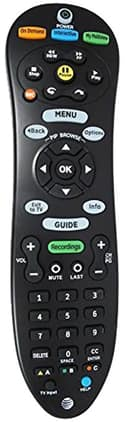 AT&T U-verse TV Standard Remote Control  (Backlit) - Black