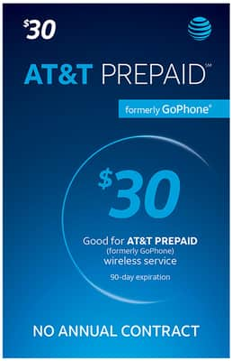 $30 AT&T PREPAID Refill Card White from AT&T