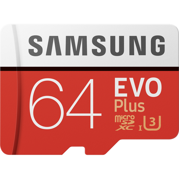 Samsung Micro SD EVO+ (v2) Memory Card w/Adapter - Red