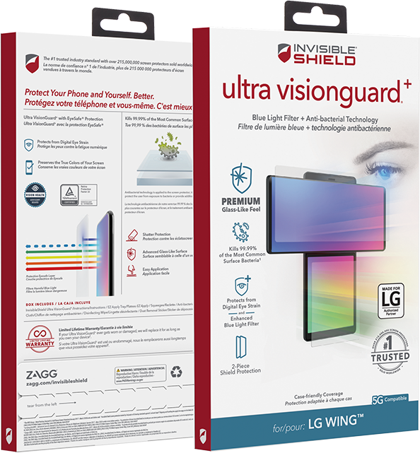 Invisible Shield Ultra VisionGuard with Anti-bacterial - LG Wing 5G - Clear