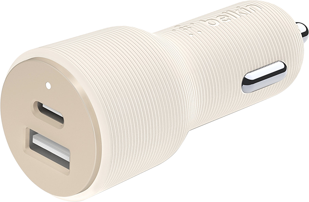 Belkin Signature Edition 30W Power Delivery Car Charger Type C and USB A - White