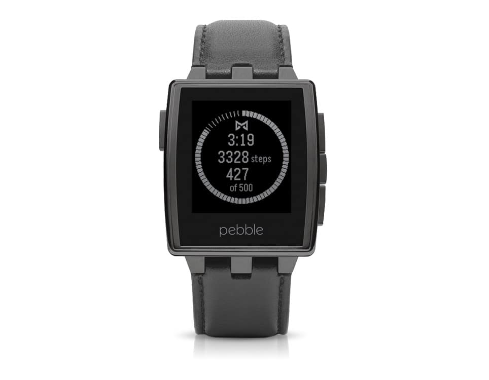 Pebble Steel Smartwatch with Leather Band for iPhone and