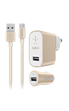 Belkin Metallic Charging Bundle (2.4A Wall Charger, 2.4A Auto Charger, Micro USB Cable)