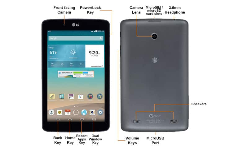 LG G Pad 7 0 LTE (V410) Diagram - AT&T Device Support