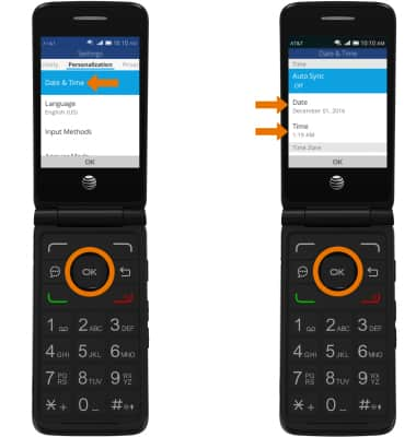 AT&T Cingular Flip 2 (4044O) - Date & Time - AT&T