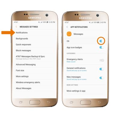 Samsung Galaxy S7 (G930A) - Messaging Settings - AT&T