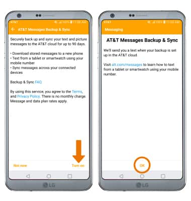 LG G6 (H871 / H871S) - AT&T Messages Backup & Sync - AT&T
