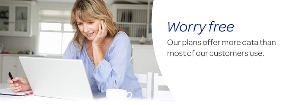 Worry free.  Our plans offer more data than most of our customers use.