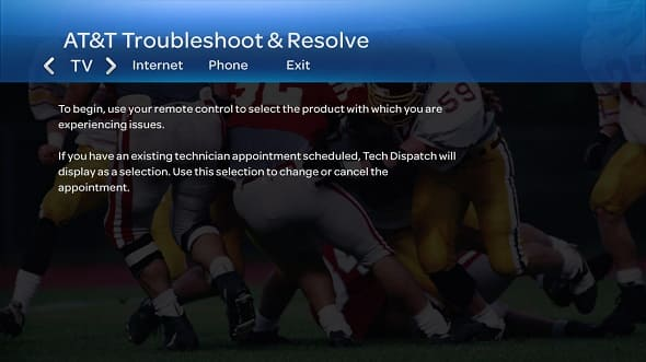 Troubleshoot and Resolve screen on U-verse TV tab