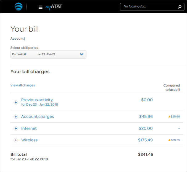 Image of your bill online that shows bill change notification amount on the far right, under Your bill charges.