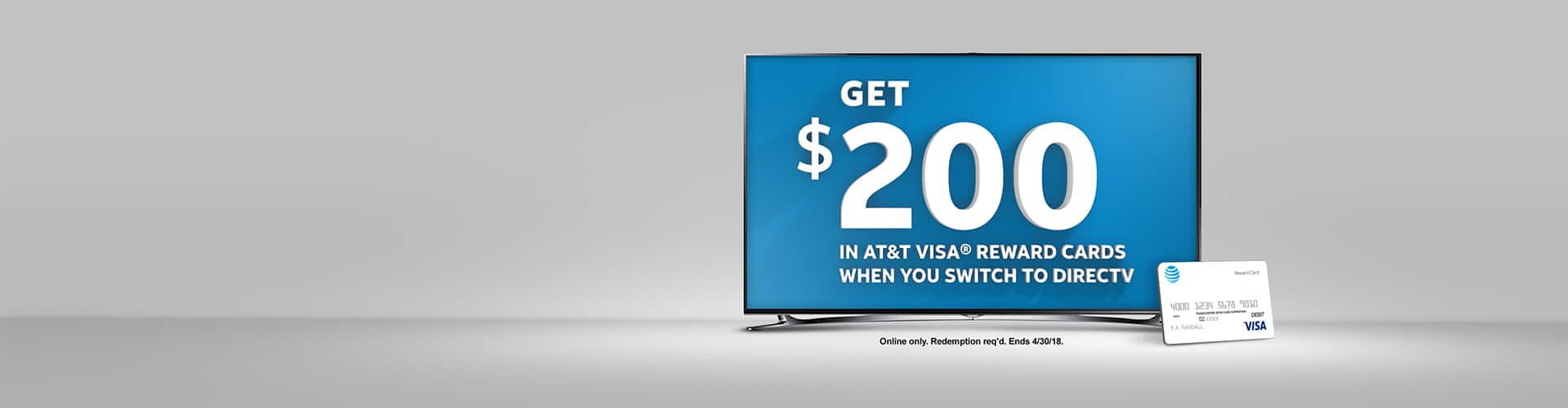 Get $200 AT&T Visa Reward when you order DIRECTV online