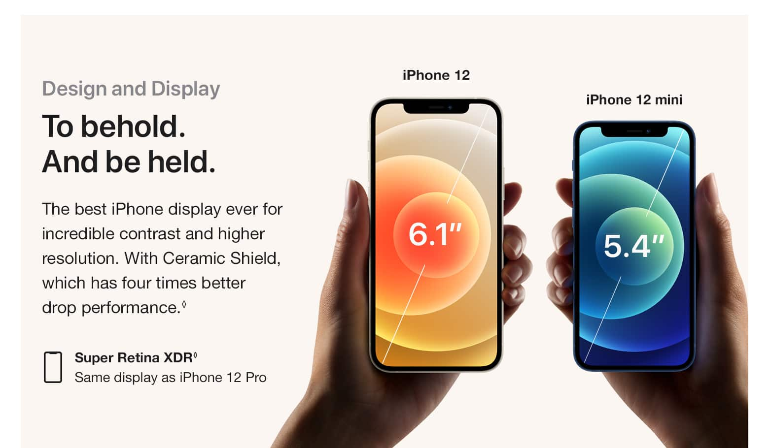 Design and Display. To behold. And be held. The best iPhone display ever for incredible contrast and higher resolution. With Ceramic Shield, which has four times better drop performance.(♢) Super Retina XDR(♢) - Same display as iPhone 12 Pro