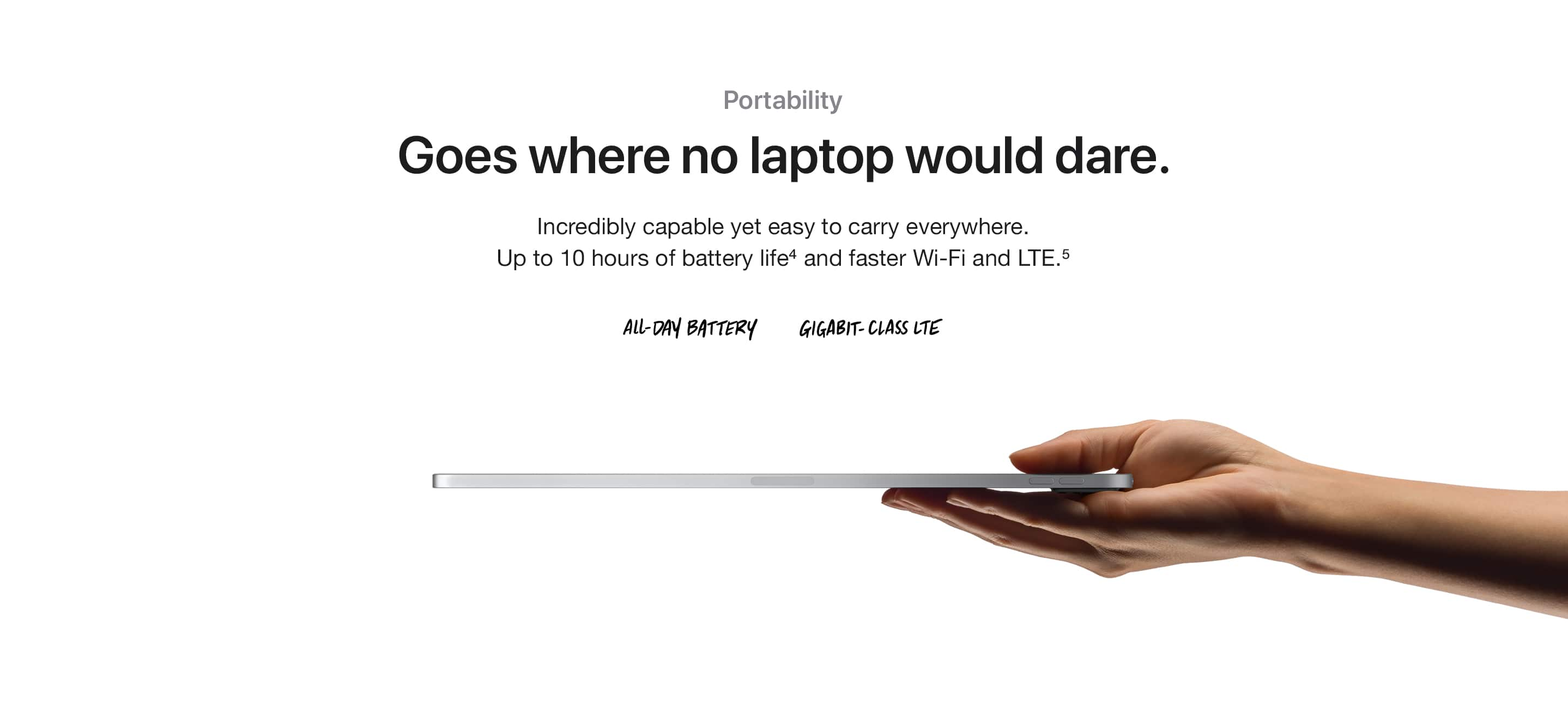 Portability. Goes where no laptop would dare. Incredibly capable yet easy to carry everywhere. Up to 10 hours of battery life(4) and faster Wi-Fi and LTE.(5) ALL-DAY BATTERY, GIGABIT-CLASS LTE.
