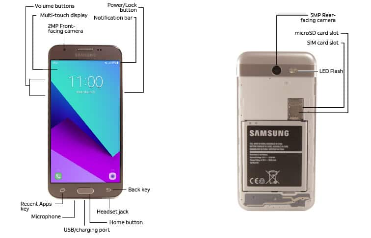 Samsung Galaxy J3 (2017) (J327A) Diagram - AT&T Device Support