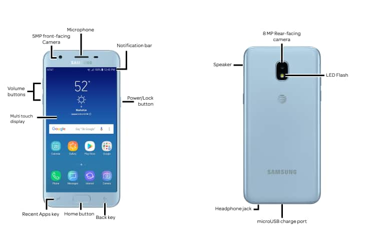 Samsung Galaxy J3 (2018) (J337A) Diagram - AT&T Device Support