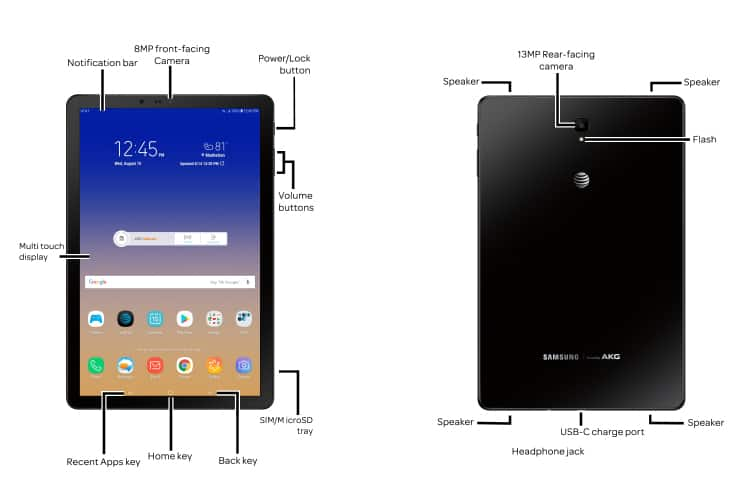 Samsung Galaxy Tab S4 (T837A) Diagram - AT&T Device Support