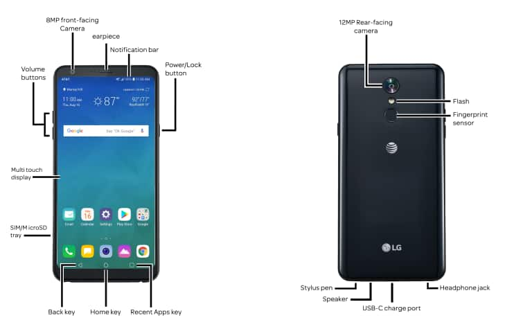 LG Stylo 4+ (LM-Q710WA) Diagram - AT&T Device Support
