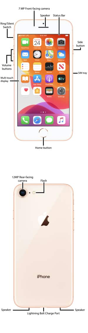 Apple iPhone 8 / 8 Plus Diagram - AT&T Device Support on iphone 6 button diagram, iphone cad diagram, iphone screen shot, iphone assembly diagram, iphone battery diagram, iphone 4s schematic, iphone 5s schematic, iphone 6 schematics, iphone hardware diagram, iphone design diagram, iphone exploded diagram, iphone cable diagram, iphone pinout diagram, iphone 5s diagram, take apart iphone 4 diagram, iphone wire diagram, iphone 4 inside diagram, iphone architecture diagram, iphone block diagram, iphone wiring diagram,