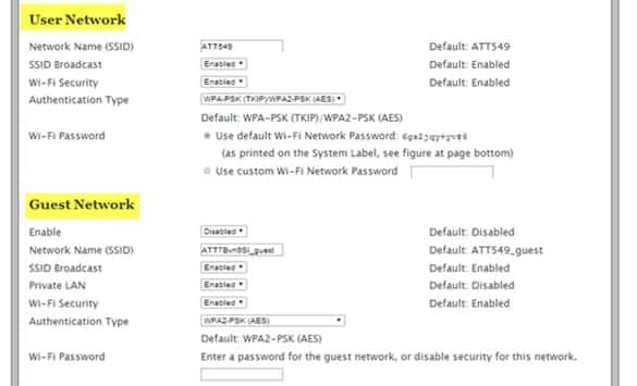 Settings screen showing User Network and Gues Network settings