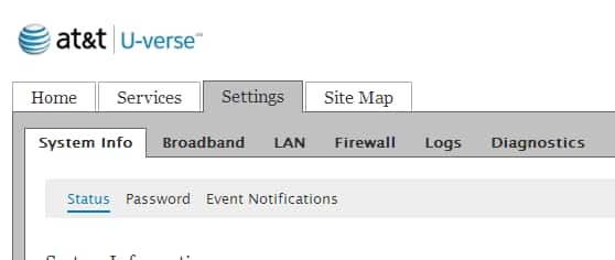 The Broadband sub-tab follows the System Info sub-tab