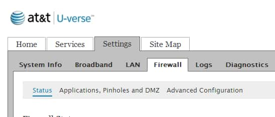 The Applications, Pinholes, and DMZ link is listed under the Firewall subtab tab, after Status.