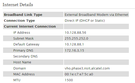 The IP address field follows the Current Internet Connection heading