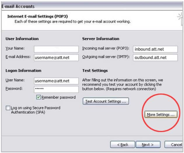 Att Com Port >> Set Up AT&T Email in Microsoft Outlook 2002 or 2003 - U-verse TV Support