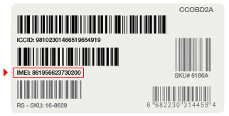 The IMEI graphic shows a bar code with numbers written above it. If you are visually impaired, please call customer service at 800.331.0500 for further help.