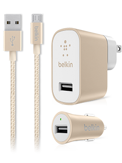 Belkin Metallic Charging Bundle (2.4A Wall Charger, 2.4A Auto Charger, Micro USB Cable) - Gold