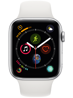 Apple Watch Series 4  - 44mm - Silver Aluminum - White Sport Band