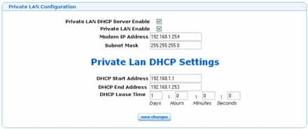 Private LAN configuration example