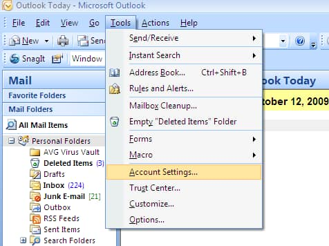 Set up your at amp t mail account in outlook 2007 simply add a new email