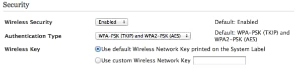 use custom Wireless Network Key is the second radio button