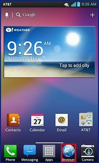 Configure browser options and settings with the lg optimus g e970 from the home screen tap browser ccuart Choice Image