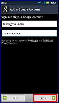 Sign in to a Google Account with the Motorola ATRIX 2 (MB865