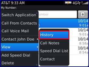 BlackBerry Bold 9900 - View or Clear the Call History Log