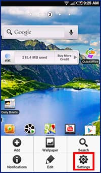 how to turn on data on a galaxy 111